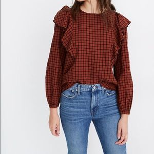 NWT Madewell Ruffle Front Top in Plaid, Size XL